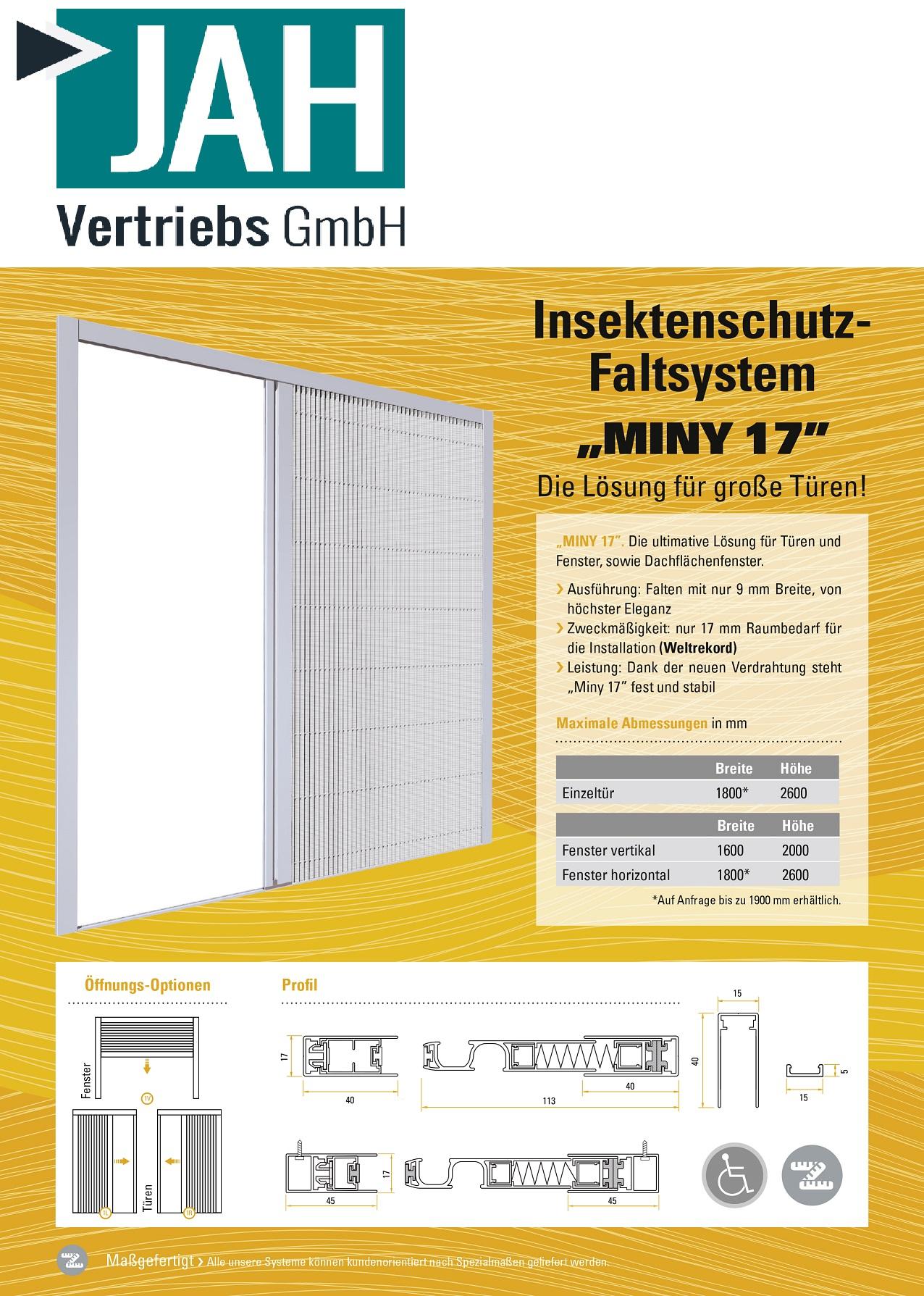 Gut gemocht Mini Plissee, die Ultimative Lösung für Türen und Fenster, sowie VS38
